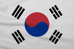 Flag of the South Korea from the factory knitted fabric. Backgrounds and Textures.  royalty free stock photography