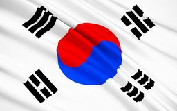 Flag of South Korea. Flag of the Republic of South Korea - or Taegukgi and Taegeukgi. The original version of this flag was adopted in March 1883, the current stock photo