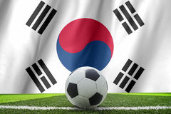 Flag South Korea with a football in a field. Flag of South Korea with a football in a field stock photography