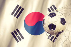 Flag of South Korea with a football in a field Stock Photography