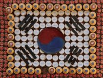 Flag of South Korea. The Flag of South Korea made out of bottle caps in Incheon, South Korea stock photo