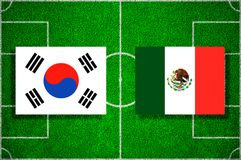 Flag South Korea - Mexico on the football field. Football match stock illustration