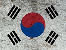 Flag of South Korea on a wooden background. royalty free stock images
