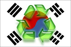 Flag of South Korea recycling Stock Photo