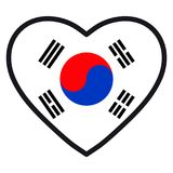 Flag of South Korea in the shape of Heart with contrasting. Contour, symbol of love for his country, patriotism, icon for Independence Day Royalty Free Stock Images