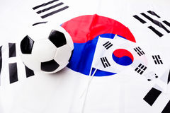 Flag of South Korea and soccer ball Royalty Free Stock Images