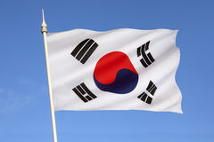 Flag of South Korea. The flag of South Korea, or Taegeukgi has three parts - a white background, a red and blue taegeuk (also known as Taiji and Yinyang) in the royalty free stock photo