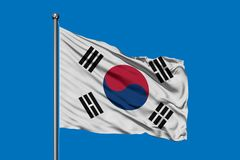 Flag of South Korea waving in the wind against deep blue sky. South Korean flag.  stock images