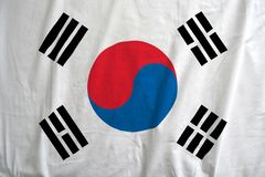 Flag of South Korea waving in the wind detail.r royalty free stock images