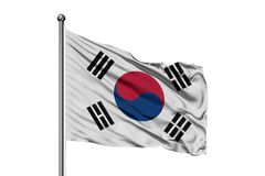 Flag of South Korea waving in the wind, isolated white background. South Korean flag.  stock photography