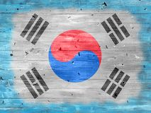 Flag of South Korea on a wooden background. royalty free stock photo