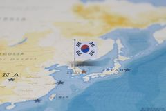 The flag of South Korea in the world map.  royalty free stock images
