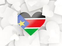Flag of south sudan, heart shaped stickers Stock Images