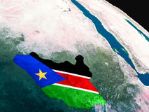Flag of South Sudan from space Stock Photography