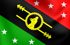Flag of Southern Highlands Province, Papua New Guinea. 3D Flag of Southern Highlands Province, Papua New Guinea. Close Up Stock Photo