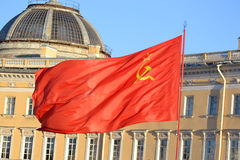 The flag of the Soviet Union. The flag of the Soviet Union on the streets of St. Petersburg, Russia Royalty Free Stock Photography