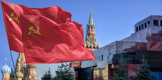 The flag . The flag of the Soviet Union (USSR) waving in the wind Stock Photography