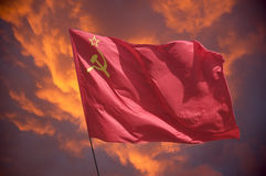 The flag . The flag of the Soviet Union (USSR) waving in the wind Stock Photos