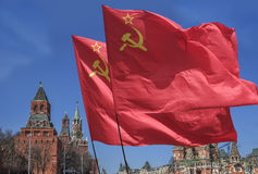 The flag . The flag of the Soviet Union (USSR) waving in the wind Royalty Free Stock Image