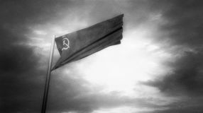 Flag of Soviet Union in a wind in black and white stock video