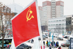 Flag of Soviet Union on wind at winter Stock Image