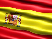 Flag of Spain. Computer generated illustration of the flag of Spain with silky appearance and waves royalty free illustration