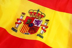 Flag of Spain. Two red stripes and yellow stripes on Coat of Arm Stock Photos