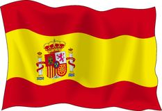 Flag of Spain. Waving flag of Spain isolated on white