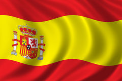 Flag of Spain. Waving in the wind Royalty Free Stock Photography