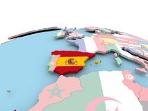 Flag of Spain on bright globe. Spain on political globe with embedded flags. 3D illustration Royalty Free Stock Photo