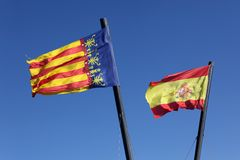 Flag  Spain and Comunidad Valenciana, Stock Photo