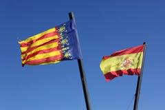 Flag  Spain and Comunidad Valenciana, Stock Photo
