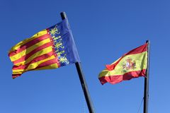 Flag  Spain and Comunidad Valenciana, Royalty Free Stock Image