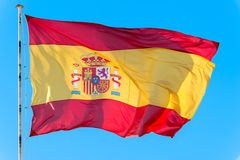 Flag of Spain. Detail Spain flag waving in the wind Royalty Free Stock Images