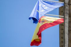 Flag of Spain and EU royalty free stock photos