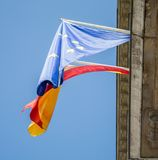 Flag of Spain and EU royalty free stock photo