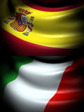 Flag of Spain and Italy Royalty Free Stock Photo