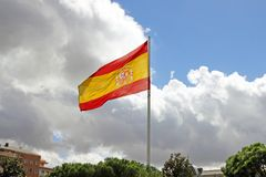 Flag of Spain in Madrid Royalty Free Stock Image