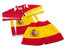 Flag from Spain on nylon soccer sportswear clothes Stock Photo