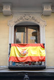 Flag of Spain outside a balcony Stock Photo