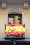 Flag of Spain outside a balcony Stock Photo
