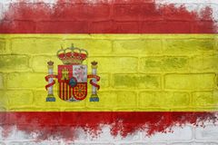 Flag of Spain painted on a brick wall Stock Image