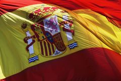 Flag of spain. The flag of spain waving on the wind Royalty Free Stock Images