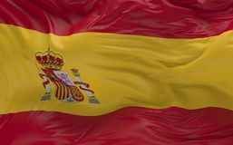 Flag of the Spain waving in the wind 3d render. National Flag of the Spain waving in the wind 3d render Stock Images