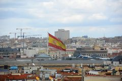 Flag of Spain in the wind Stock Image