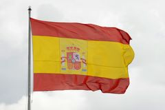 Flag of Spain in the wind Royalty Free Stock Photos