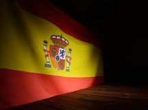 Flag of the Spain with wooden boards. Royalty Free Stock Photo