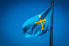 Flag of Spanish Asturias Autonomous community waving in the wind Stock Images