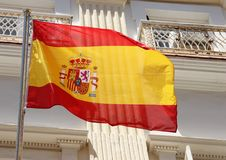 Flag. The Spanish Flag flying over the city of Cadiz, Spain Royalty Free Stock Photography