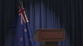 National flag of New Zealand and speaker podium tribune. Political event or statement related conceptual 3D animation